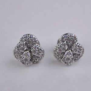 Henri Bendel Silver Peony Flower Stud Earrings
